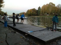 Young scullers at Cerea Rowing Club, Torino Italy