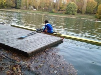 Young sculler at Cerea Rowing Club, Torino Italy